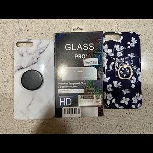 2 iPhone cases and 1 screen protector iPhone7/8+